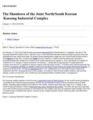 Primary view of object titled 'The Shutdown of the Joint North/South Korean Kaesong Industrial Complex'.