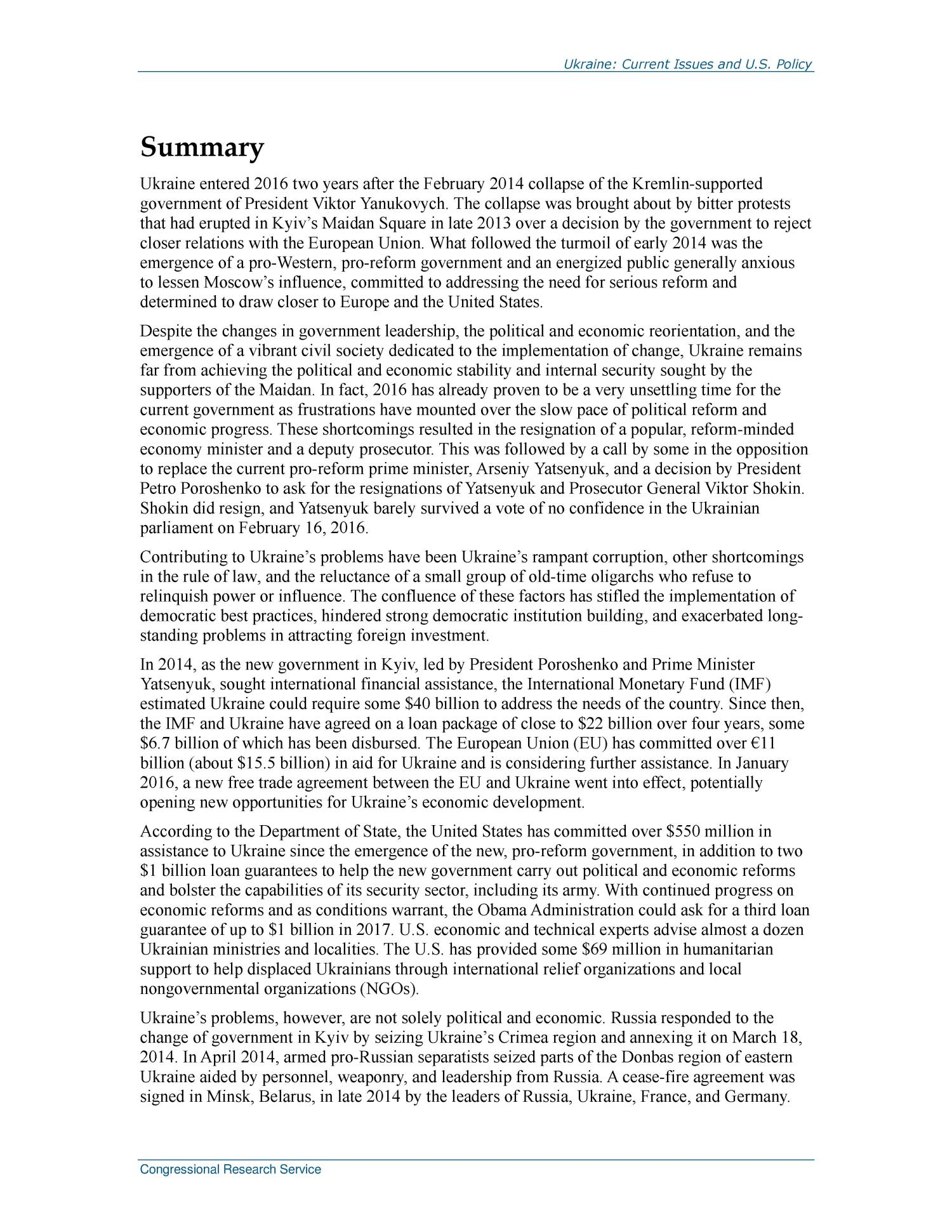Ukraine: Current Issues and U.S. Policy                                                                                                      [Sequence #]: 2 of 26