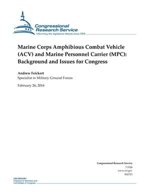 Primary view of object titled 'Marine Corps Amphibious Combat Vehicle (ACV) and Marine Personnel Carrier (MPC): Background and Issues for Congress'.