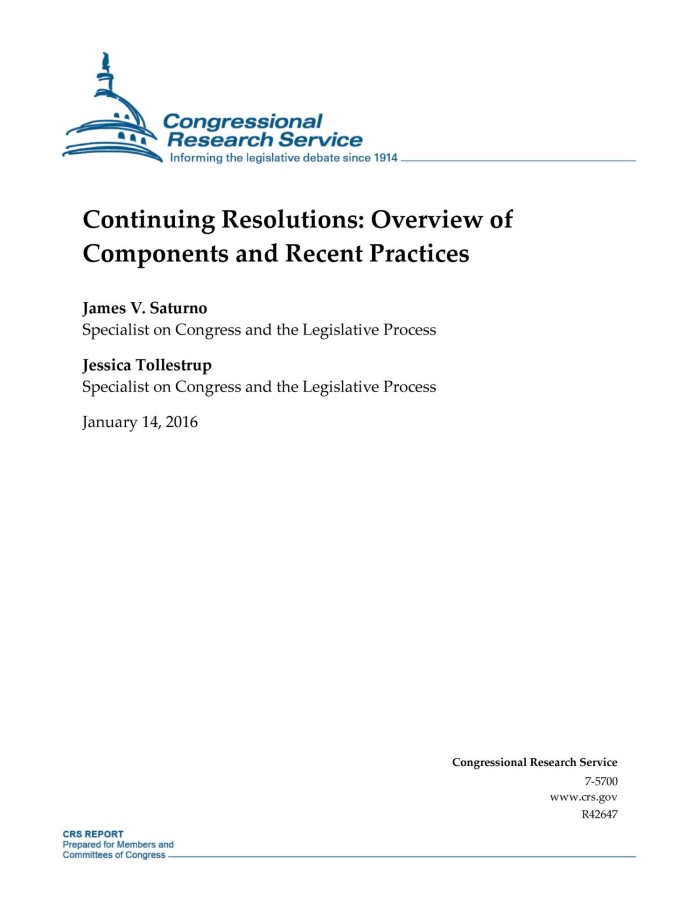 Continuing Resolutions: Overview of Components and Recent Practices