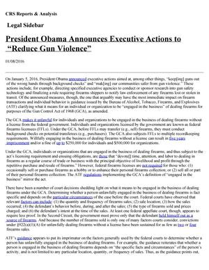 "Primary view of object titled 'President Obama Announces Executive Actions to ""Reduce Gun Violence""'."