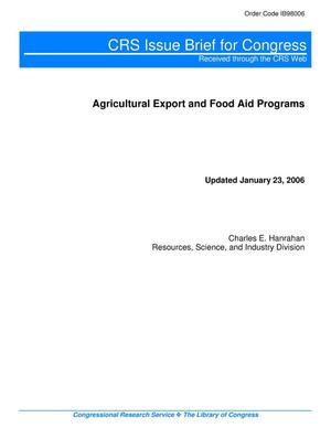 Primary view of object titled 'Agricultural Export and Food Aid Programs'.