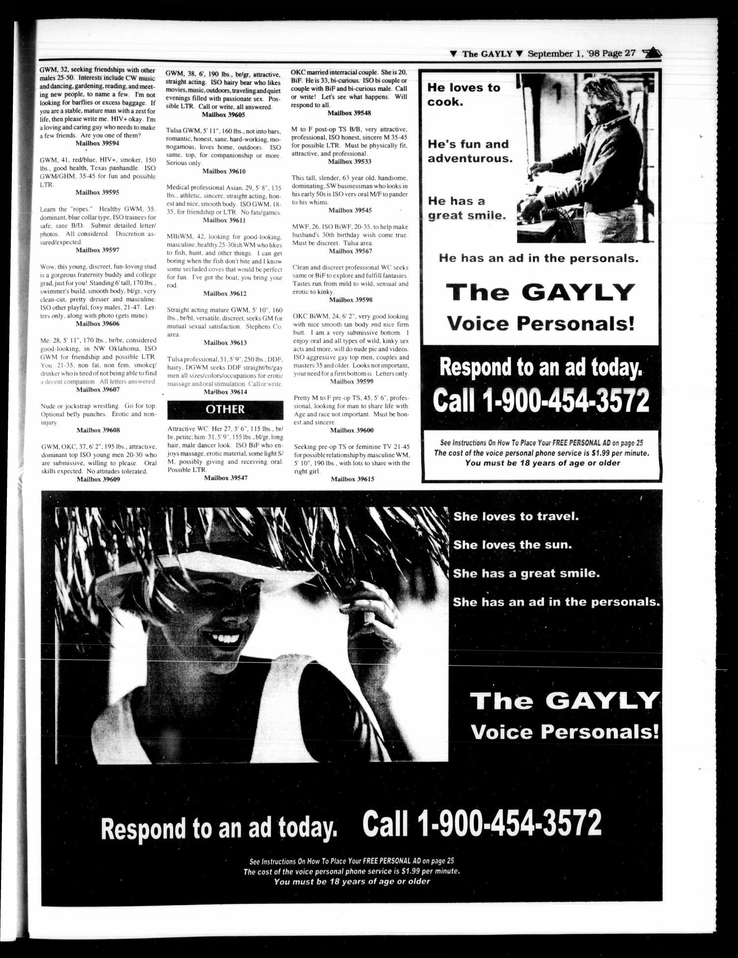 The Gayly Oklahoman (Oklahoma City, Okla.), Vol. 16, No. 17, Ed. 1 Tuesday,  September 1, 1998 - Page 27 of 32 - Digital Library
