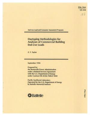Primary view of object titled 'DAYTYPING METHODOLOGIES FOR ANALYSES OF COMMERCIAL BUILDING END-USE LOADS'.