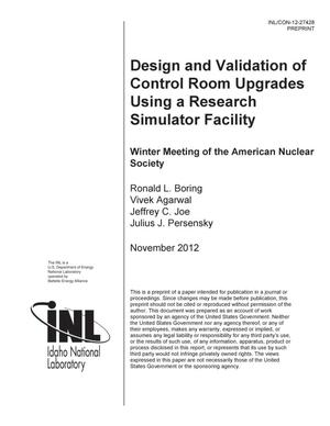 Primary view of object titled 'Design and Validation of Control Room Upgrades Using a Research Simulator Facility'.