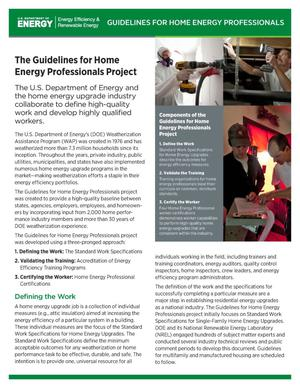 Primary view of object titled 'Guidelines for Home Energy Professionals Project (Fact Sheet)'.
