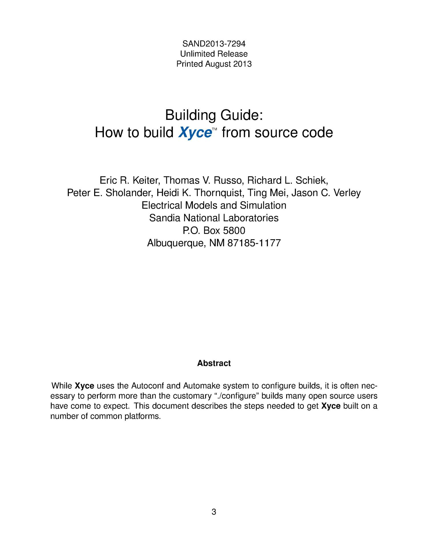 Building guide : how to build Xyce from source code.                                                                                                      [Sequence #]: 3 of 36