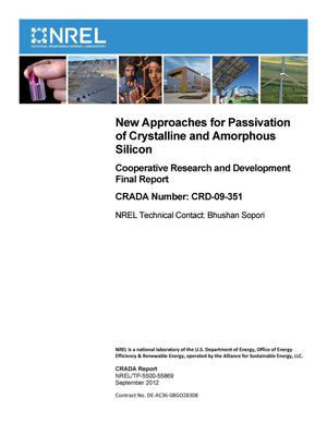 Primary view of object titled 'New Approaches for Passivation of Crystalline and Amorphous Silicon: Cooperative Research and Development Final Report, CRADA Number CRD-09-351'.