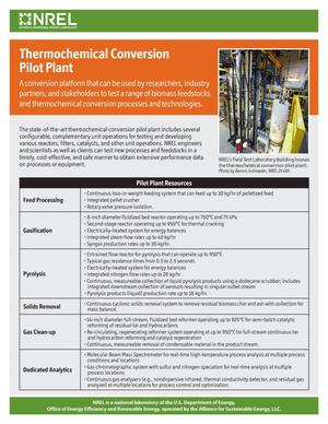 Primary view of object titled 'Thermochemical Conversion Pilot Plant (Fact Sheet)'.