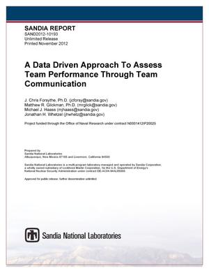 Primary view of object titled 'A data driven approach to assess team performance through team communication.'.
