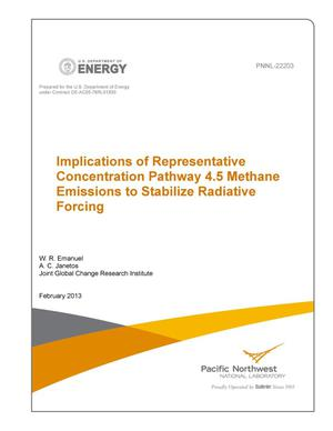 Primary view of object titled 'Implications of Representative Concentration Pathway 4.5 Methane Emissions to Stabilize Radiative Forcing'.