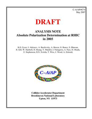 Primary view of object titled '(DRAFT) ANALYSIS NOTE, Absolute Polarization Determination at RHIC in 2005'.