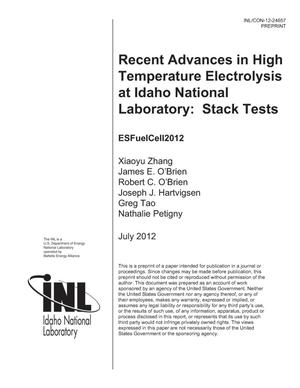 Primary view of object titled 'RECENT ADVANCES IN HIGH TEMPERATURE ELECTROLYSIS AT IDAHO NATIONAL LABORATORY: STACK TESTS'.