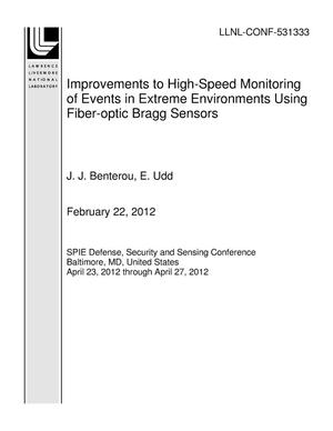 Primary view of object titled 'Improvements to High-Speed Monitoring of Events in Extreme Environments Using Fiber-optic Bragg Sensors'.