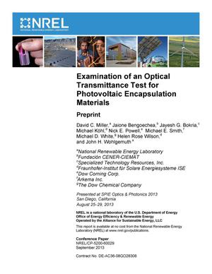 Primary view of object titled 'Examination of an Optical Transmittance Test for Photovoltaic Encapsulation Materials: Preprint'.