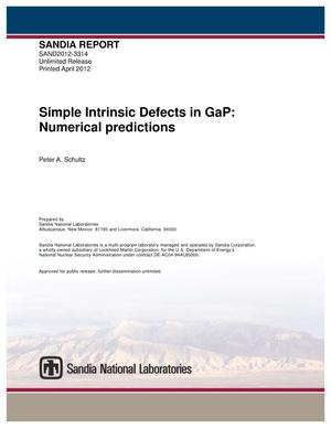 Primary view of object titled 'Simple intrinsic defects in GaP : numerical predictions.'.