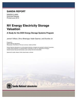Primary view of object titled 'NV energy electricity storage valuation : a study for the DOE Energy Storage Systems program.'.