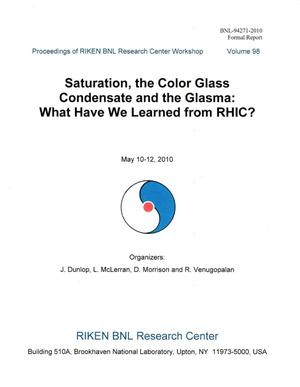 Primary view of object titled 'Proceedings of RIKEN BNL Research Center Workshop: Saturation, the Color Glass Condensate and the Glasma: What Have We Learned from RHIC?'.