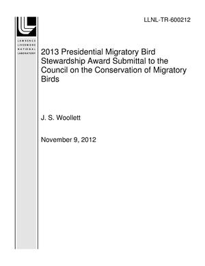 Primary view of object titled '2013 Presidential Migratory Bird Stewardship Award Submittal to the Council on the Conservation of Migratory Birds'.