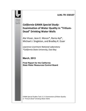 "Primary view of object titled 'Examination of Water Quality in ""Tritium-Dead"" Drinking Water Wells'."