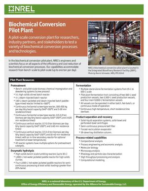 Primary view of object titled 'Biochemical Conversion Pilot Plant (Fact Sheet)'.