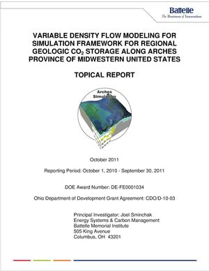 Primary view of object titled 'Variable Density Flow Modeling for Simulation Framework for Regional Geologic CO{sub 2} Storage Along Arches Province of Midwestern United States'.