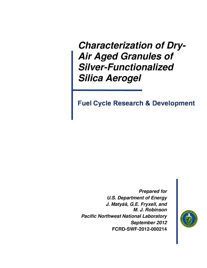 Characterization of Dry-Air Aged Granules of Silver