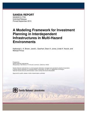Primary view of object titled 'A modeling framework for investment planning in interdependent infrastructures in multi-hazard environments.'.