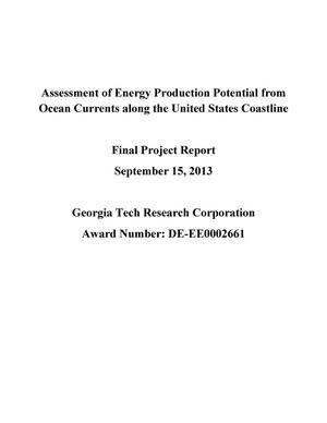 Primary view of object titled 'Assessment of Energy Production Potential from Ocean Currents along the United States Coastline'.