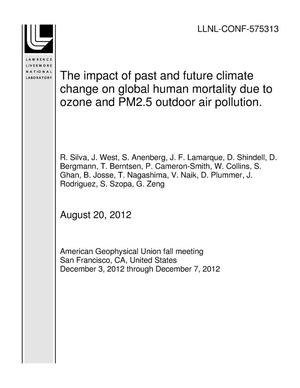 Primary view of object titled 'The impact of past and future climate change on global human mortality due to ozone and PM2.5 outdoor air pollution.'.