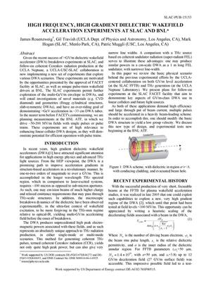 Primary view of object titled 'High Frequency, High Gradient Dielectric Wakefield Acceleration Experiments at SLAC and BNL'.