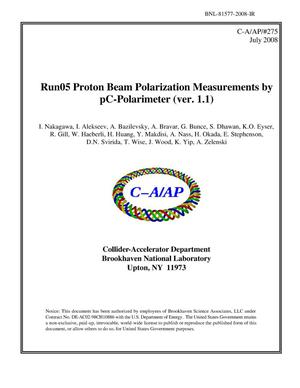Primary view of object titled 'Run05 Proton Beam Polarization Measurements by pC-Polarimeter (ver. 1.1)'.