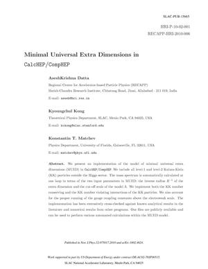 Primary view of object titled 'Minimal Universal Extra Dimensions in CalcHEP/CompHEP'.