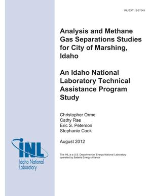 Primary view of object titled 'Analysis and Methane Gas Separations Studies for City of Marsing, Idaho An Idaho National Laboratory Technical Assistance Program Study'.