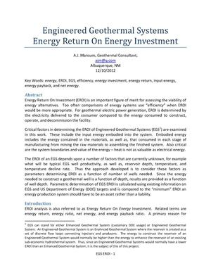 Primary view of object titled 'Engineered Geothermal Systems Energy Return On Energy Investment'.