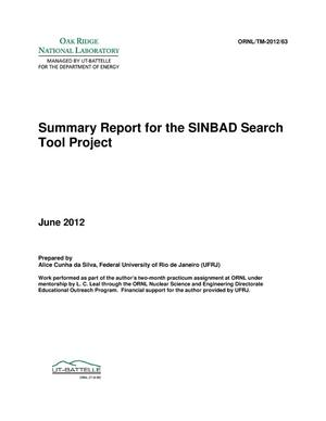 Primary view of object titled 'Summary Report for the SINBAD Search Tool Project'.