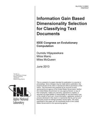 Primary view of object titled 'Information Gain Based Dimensionality Selection for Classifying Text Documents'.