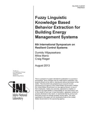 Primary view of object titled 'Fuzzy Linguistic Knowledge Based Behavior Extraction for Building Energy Management Systems'.