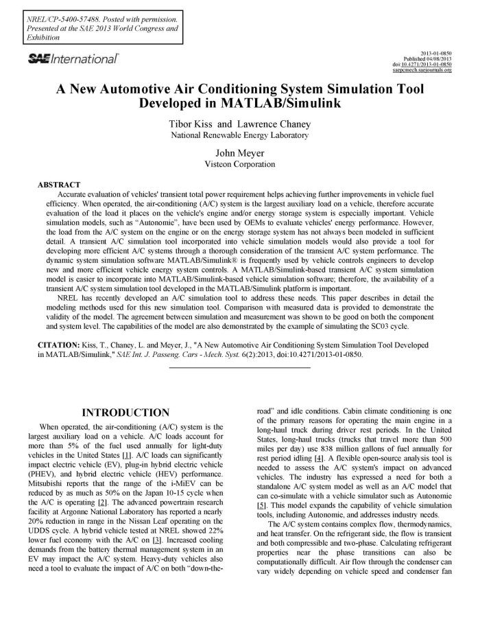New Automotive Air Conditioning System Simulation Tool