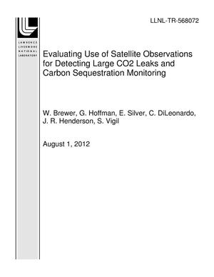 Primary view of object titled 'Evaluating Use of Satellite Observations for Detecting Large CO2 Leaks and Carbon Sequestration Monitoring'.