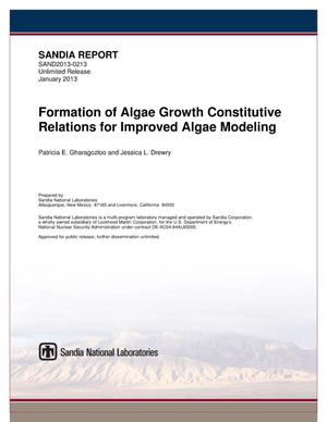 Primary view of object titled 'Formation of algae growth constitutive relations for improved algae modeling.'.