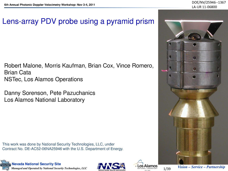 Lens-array PDV Probe Using a Pyramid Prism - Digital Library