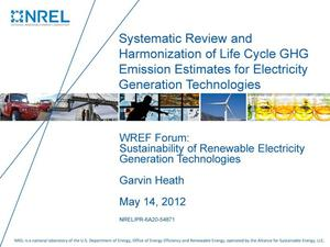 Primary view of object titled 'Systematic Review and Harmonization of Life Cycle GHG Emission Estimates for Electricity Generation Technologies (Presentation)'.
