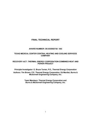 Primary view of object titled 'Thermal Energy Corporation Combined Heat and Power Project'.