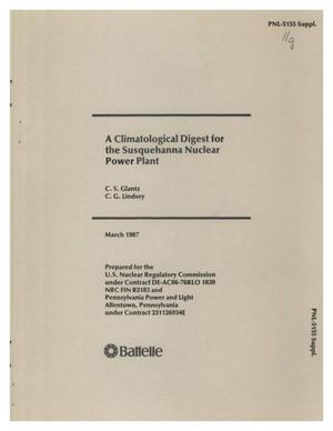 Primary view of object titled 'A CLIMATOLOGICAL DIGEST FOR THE SUSQUEHANNA NUCLEAR POWER PLANT'.