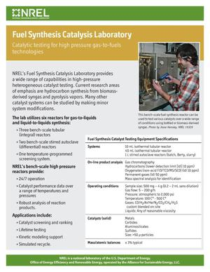 Primary view of object titled 'Fuel Synthesis Catalysis Laboratory (Fact Sheet)'.