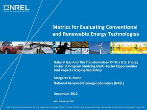 Primary view of object titled 'Metrics for Evaluating Conventional and Renewable Energy Technologies (Presentation)'.