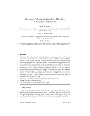 Primary view of object titled 'Fractional Calculus in Hydrologic Modeling: A Numerical Perspective'.