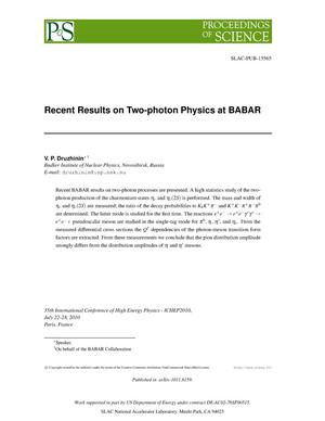 Primary view of object titled 'Recent BABAR Results on Two-photon Physics'.