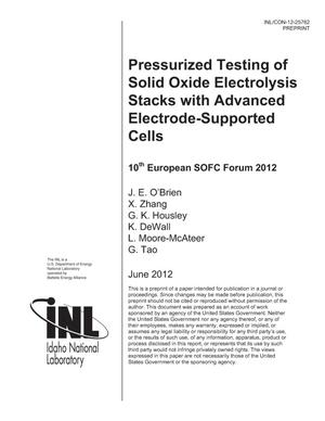 Primary view of object titled 'Pressurized Testing of Solid Oxide Electrolysis Stacks with Advanced Electrode-Supported Cells'.